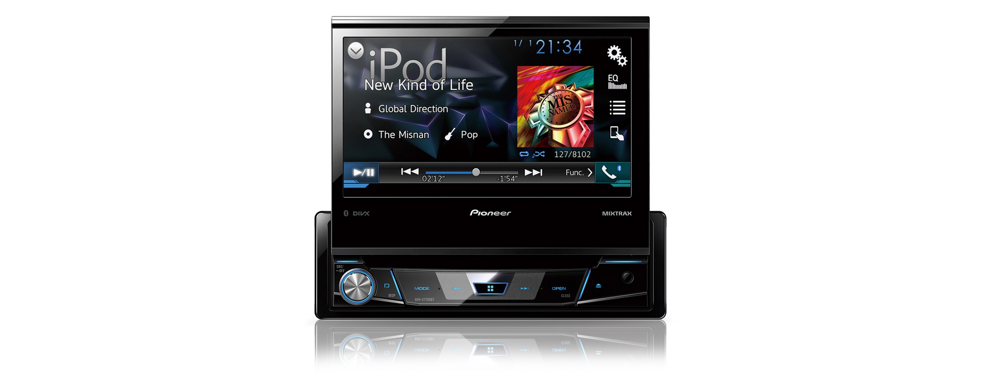 pioneer avh x7800bt 1 din moniceiver mit ausfahrbarem 7. Black Bedroom Furniture Sets. Home Design Ideas