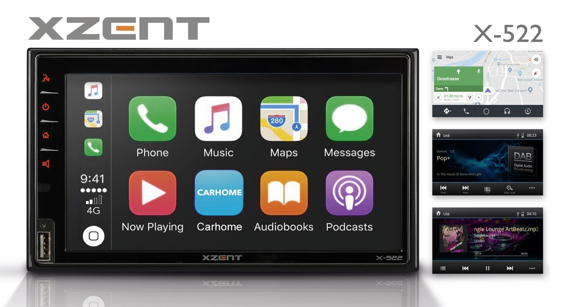 XZENT X-522 - 2Din DAB+ Infotainer mit Apple CarPlay und Android Auto